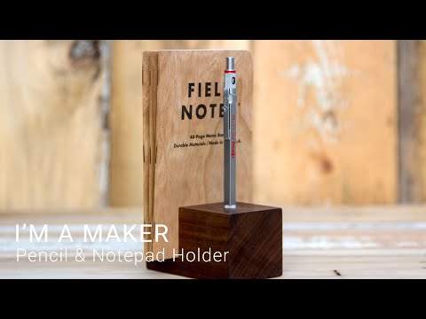 Pencil & Notepad Holder out of Recycled Walnut | #maker #woodworking #diy