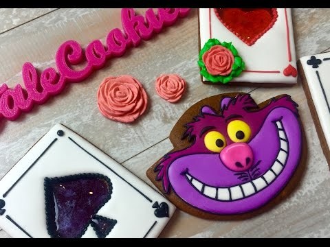 Alice in Wonderland:  Cheshire Cat and Caramel Card Soldiers cookies by TaleCookies