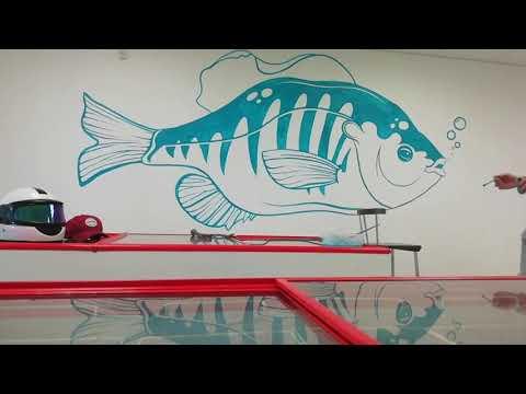 Wall Painting Роспись стены Рисунок кистью #рыба #рисунок #интерьер #роспись #стена #графити