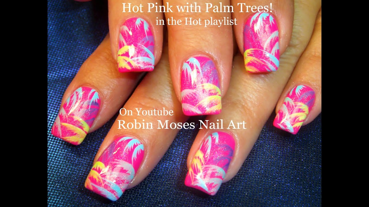 Hot Pink Palm trees Nail Art Rainbow Nails! DIY Nail Design Tutorial ...