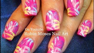 Nail Art! Hot Neon Pink Palm Trees In Rainbow Nails! Diy Nail Design Tutorial