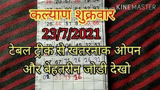 कल्याण 23/7/2021 table trick Jodi trick dekho