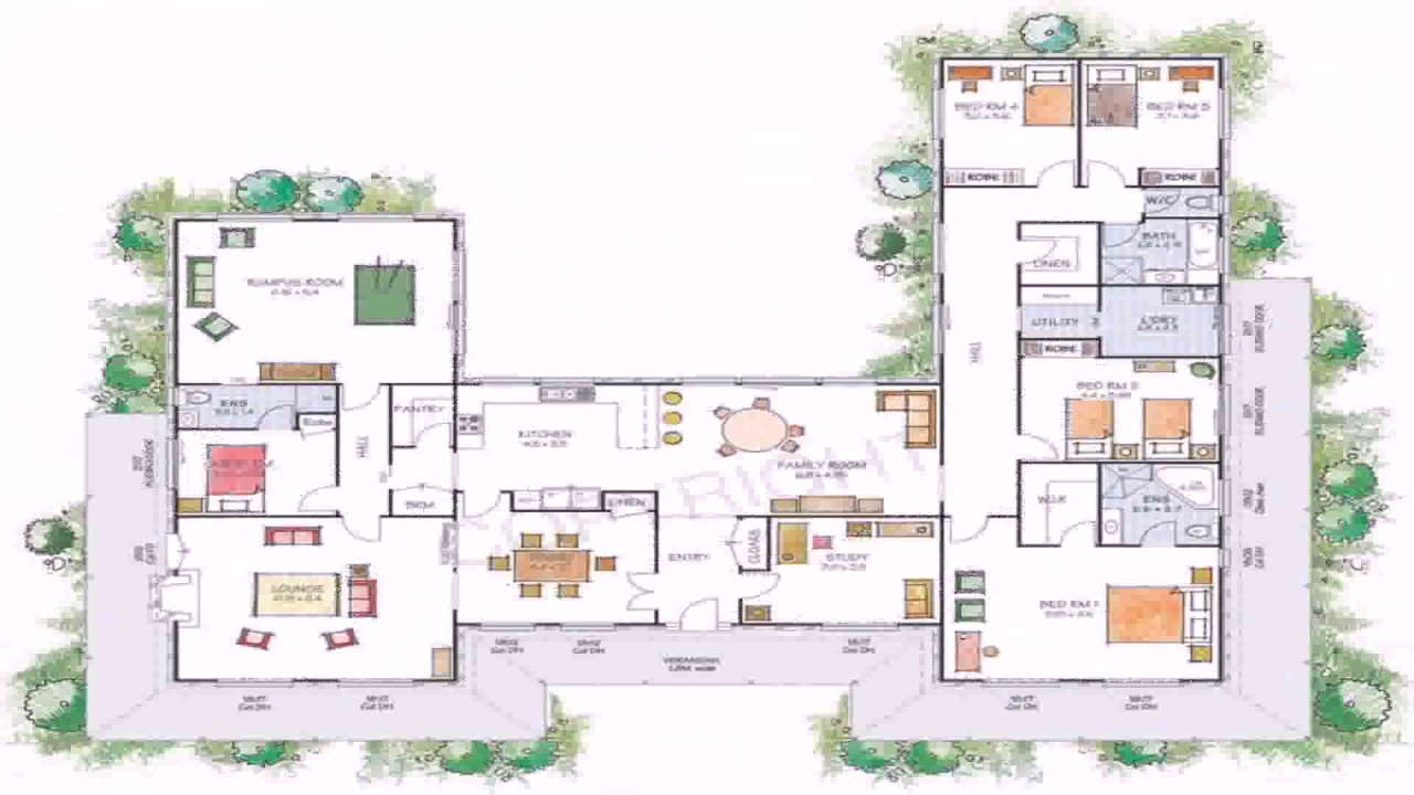 House plans u shaped floor plan youtube for U shaped house plans single level