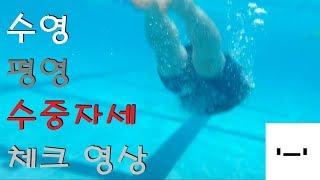 실내수영장 수영 평영 수중 자세 체크 25m 왕복 영상