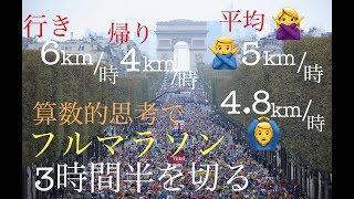 平均の速さ。算数的思考でマラソン3時間半を切る