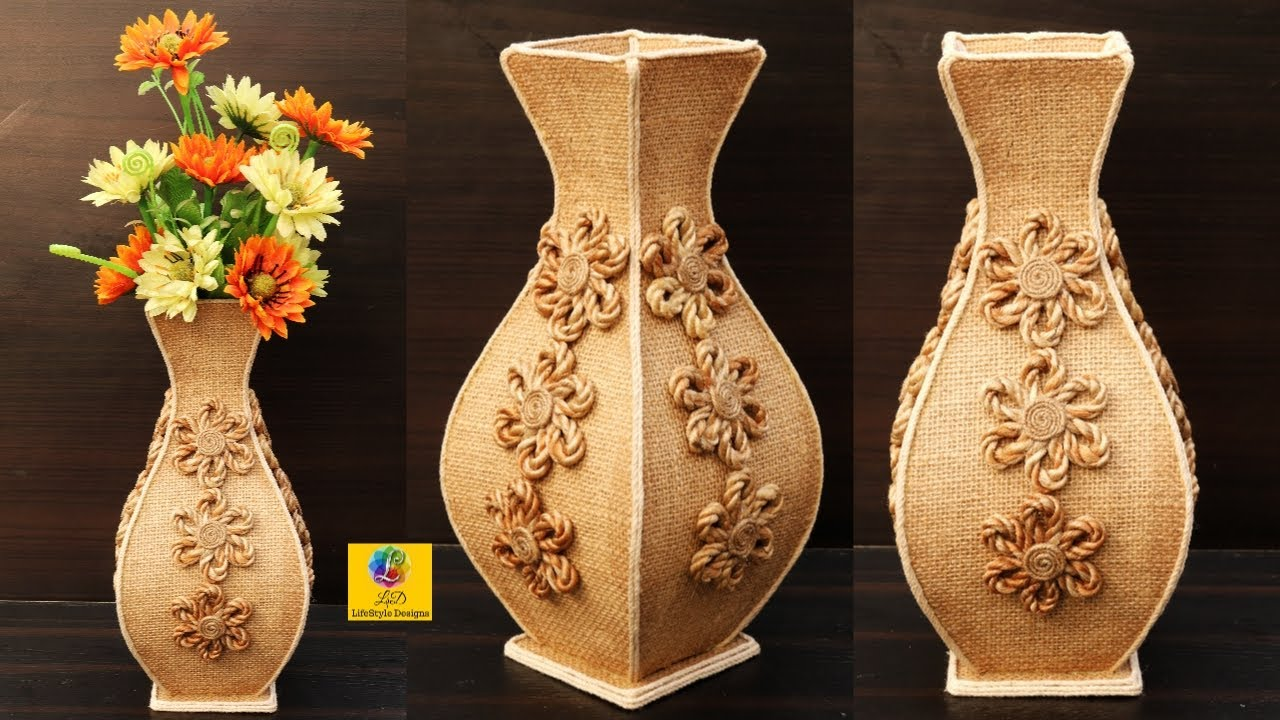 Diy Beautiful Jute Flower Vase Home Decorating Ideas Handmade Youtube