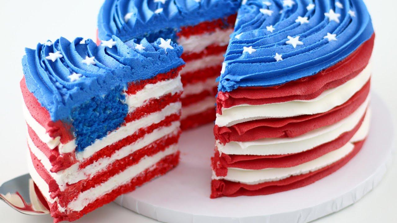 American Flag Inside A Cake For 4th Of July Youtube