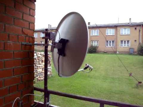 Motorised satellite dish 42 deg East (Turksat) to 30 deg West (Hispasat) in Berzkrogs, Latvia