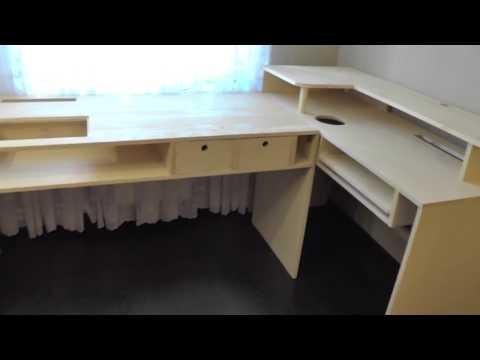 Компьютерный стол своими руками. Как сделать стол самому. Стол из деревянных щитов.