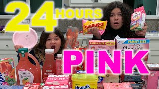 24 HOURS EATING ONLY PINK FOOD CHALLENGE