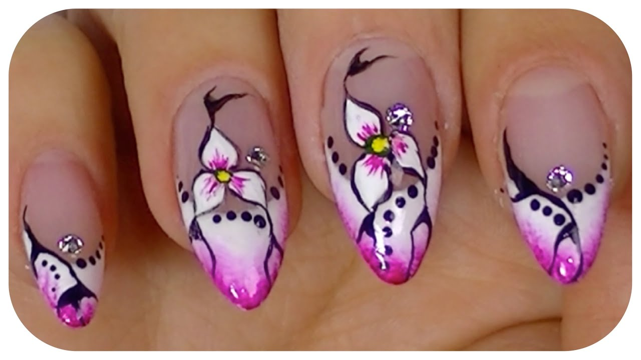 Pretty Flower,Elegant nail art video design,Step By Step Tutorial ...