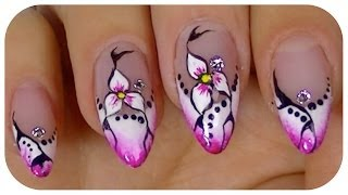 Pretty Flower,Elegant nail art video design,Step By Step Tutorial