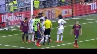 Real Madrid vs Barcelona 3-4 - Dopo Il Gol Di Messi Scoppia La Rissa.