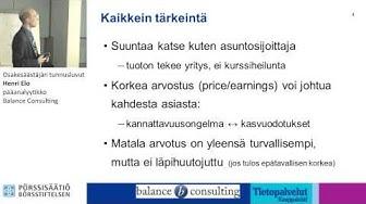 Osakesäästäjän tunnusluvut, Henri Elo, Balance Consulting