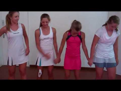 South African Junior Tennis Team dancing at the 2014 African Junior Championships