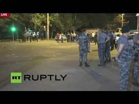 LIVE outside police station in Yerevan as hostage siege continues