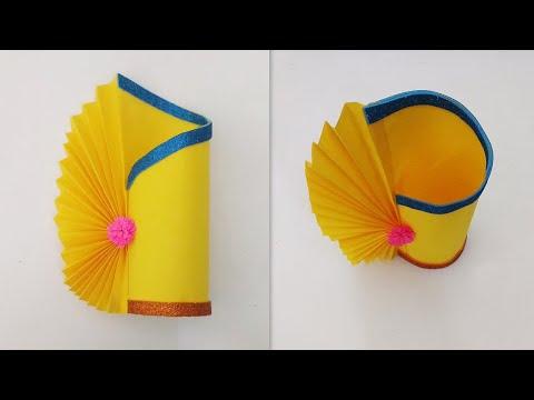 Flower vase decoration ideas | Flower vase making with paper