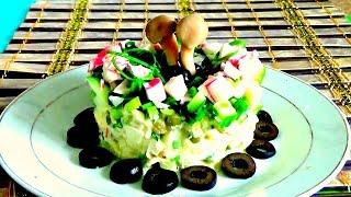 Крабовый салат с картошкой, огурцом, горошком. Легко и просто