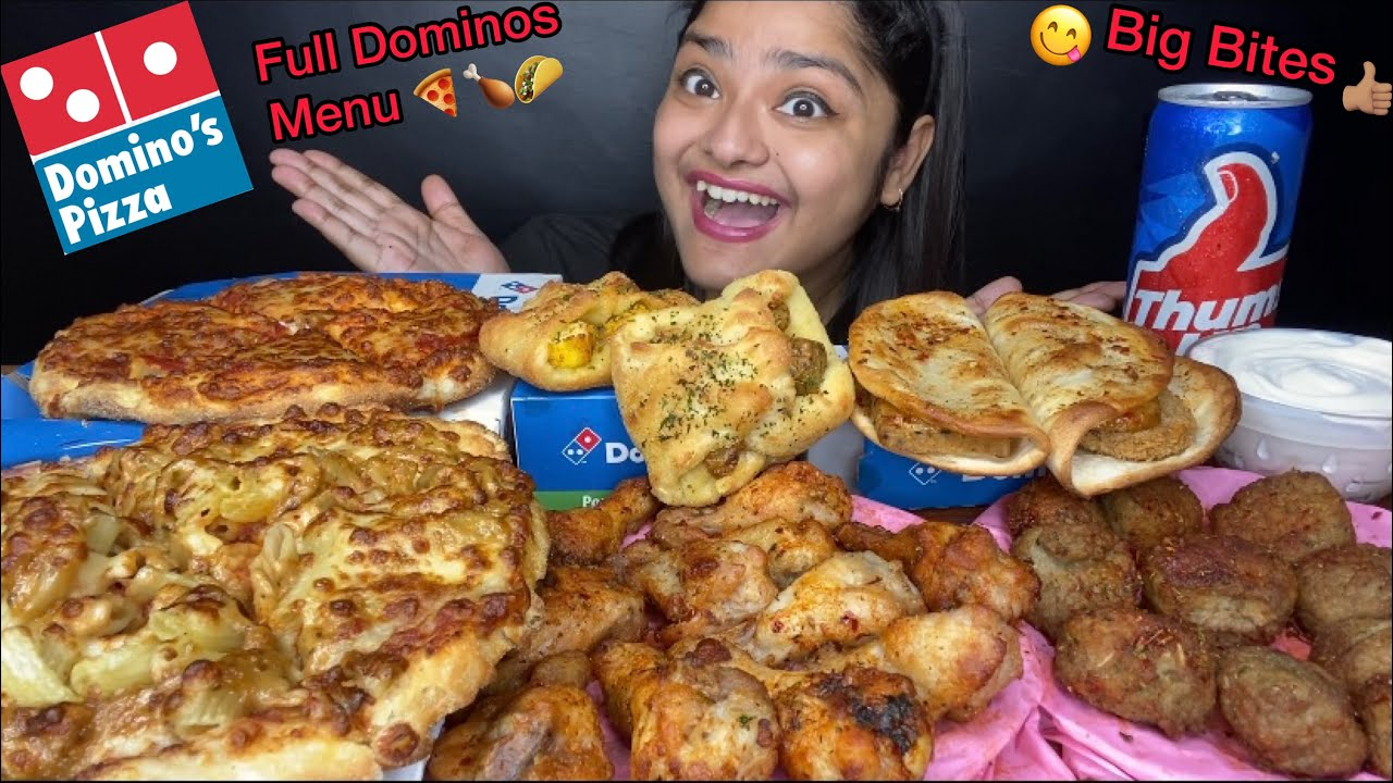 FULL DOMINOS MENU EATING! 🍕 CHEESE BUST PIZZA, MEAT BALLS, CHICKEN WINGS, TACOS | FOOD EATING SHOW