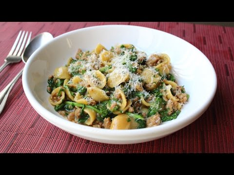 """One Pan"" Orecchiette Pasta with Sausage and Arugula How to Cook Pasta & Sauce in One Pan"