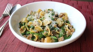 One Pan Orecchiette Pasta with Sausage and Arugula