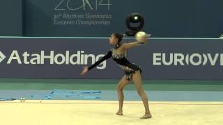 Гимнастка Гюльсум Шафизаде. Выступление с мячом(http://www.vestikavkaza.ru/video/, 2014-06-14T18:01:59.000Z)