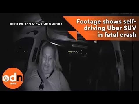 Footage of self-driving Uber crashing