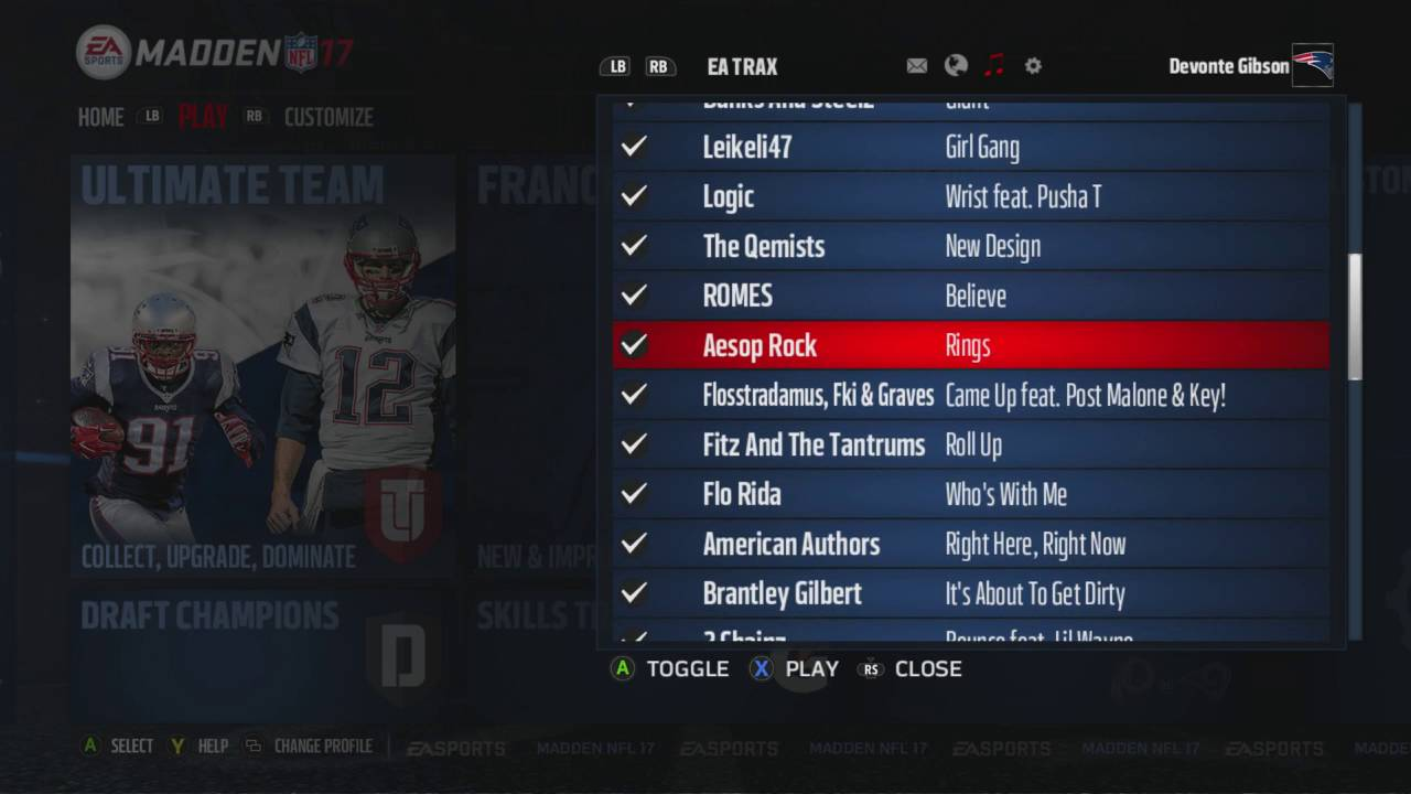 how to change music in madden 18