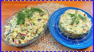 Салат из крабовых палочек с плавленным сыром и огурцом Простой рецепт