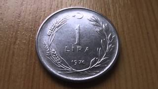 1 Lira coin of Turkey from 1976 in HD