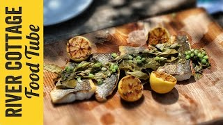 Sea Bass, Sorrel And Peas & Elderflower Fritters   Gill Meller & Paul West
