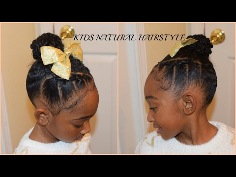 BEGINNER FRIENDLY: Rubberband Braids/Cornrows (Quick Kids  Natural Hairstyle) Back to school
