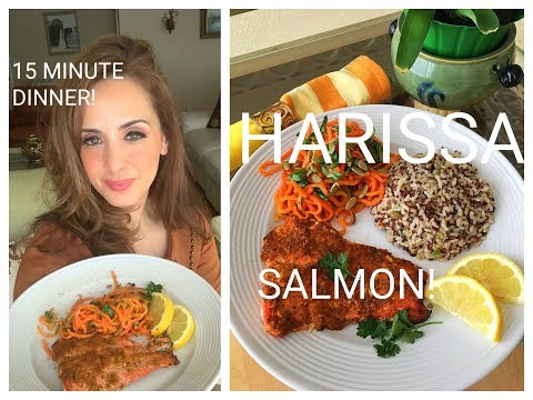 15 MINUTE HARISSA SALMON AND CARROT ZOODLE SALAD!