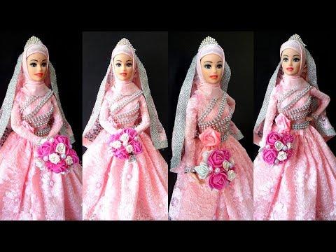 Barbie Doll Muslim Hijab Style Marriage Dress   How To Make Barbie Doll Hijab Wedding Dresses