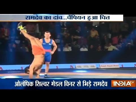 Pro Wrestling League Season 2: Baba Ramdev Shows Power of Yoga to Olympic Wrestler