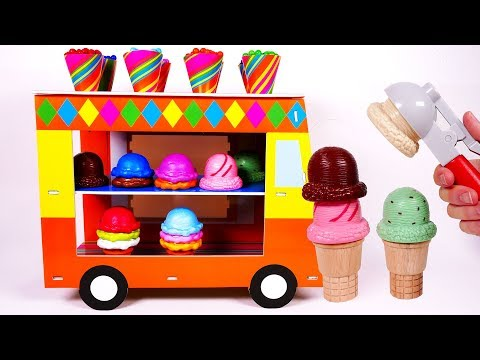 Ice Cream Truck Toy Playset Learn Colors with Candy and Ice Cream Cones Toys for Kids