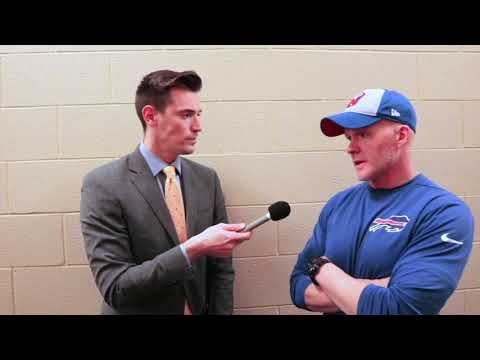 Joe B. talks to Bills coach Sean McDermott after their loss to the Colts
