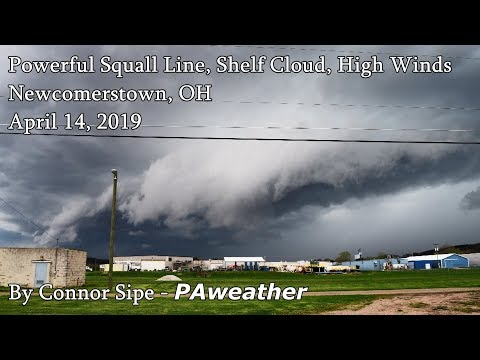 Powerful Squall Line - Newcomerstown, OH, 4-14-2019