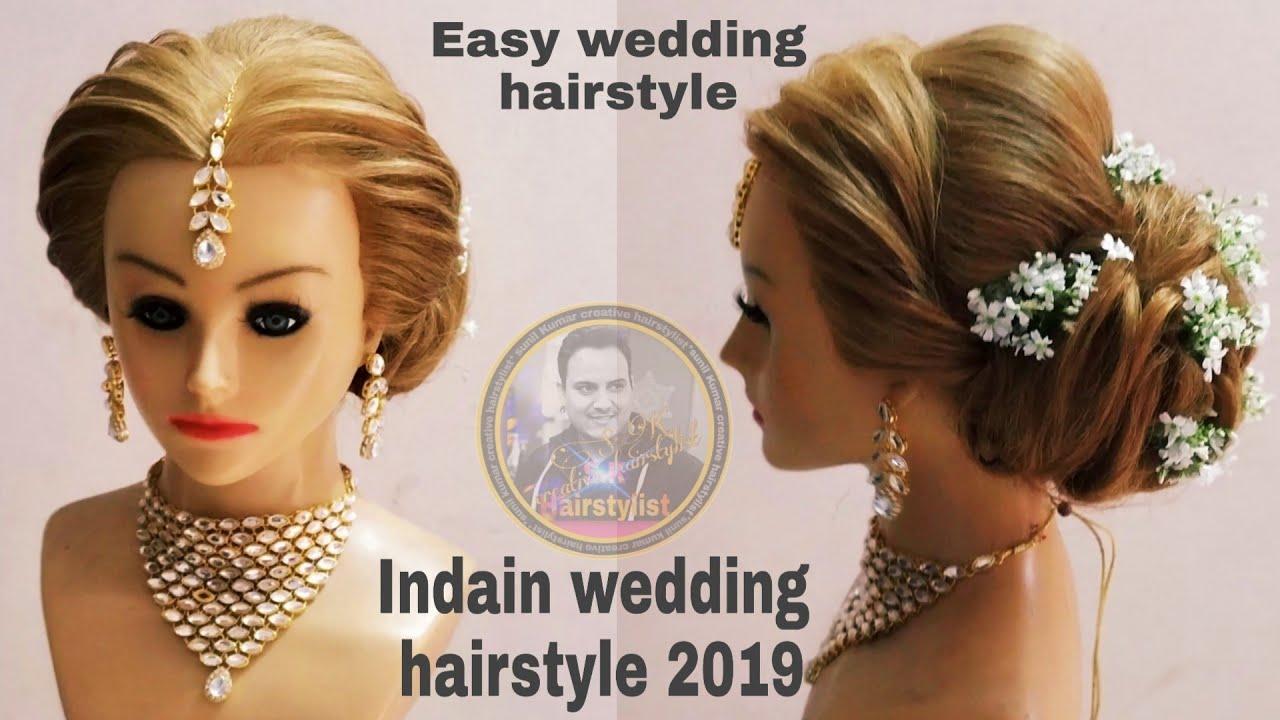 Wedding judha hairstyle 2019/ Indian wedding hairstyle 2019/ wedding  hairstyle with white flower,