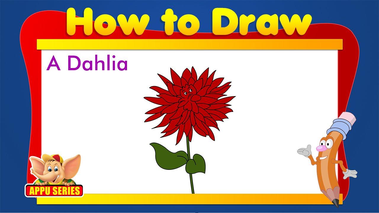 Learn To Draw Flower Draw A Dahlia Youtube