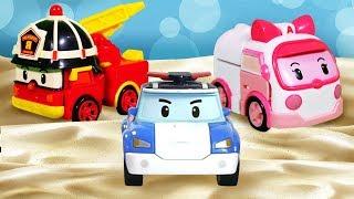 Видео про машинки - Поли Робокар и друзья играют в Песочнице! - Игры для детей на улице