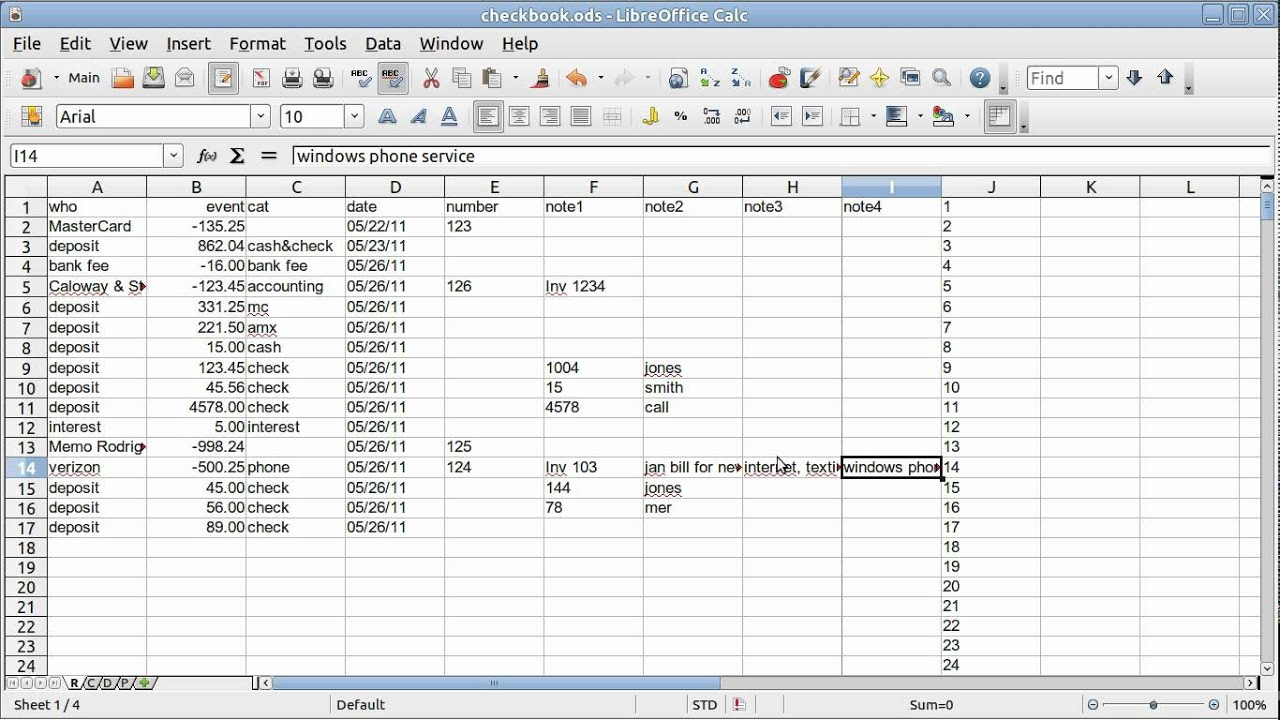 Spreadsheet Basics Checkbook Quicken Youtube