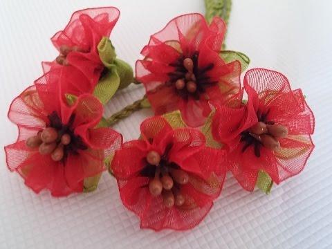 kurdele oyası gelincik çiçeği yapılışı-How do I make poppy poppy flowers?