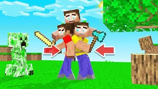 Minecraft But We're All STUCK TOGETHER! (help)