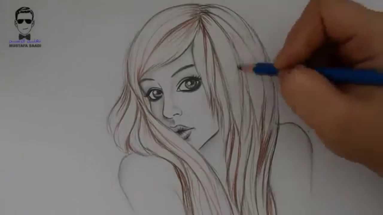 رسم الشعر بالرصاص وتلوينه مثل شعر الايموhow To Draw Hair