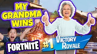 MY GRANDMA PLAYS FORTNITE & GETS HER FIRST SOLO DUB!!! Oldest Fortnite Player YEEEEET!