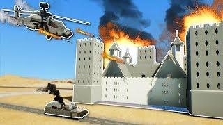 HELICOPTER DESTROYS HUGE CASTLE! - Brick Rigs Gameplay - Train & Castle Battle Roleplay!
