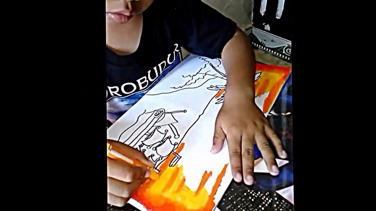 Mewarnai Langit Sore Menggunakan Crayon Untuk Anak Tk Youtube