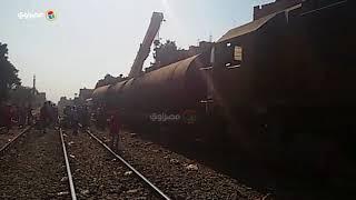 رفع آثار خروج عربة قطار بضائع عن القضبان ببني سويف وإعادة حركة القطارات إلى طبيعتها