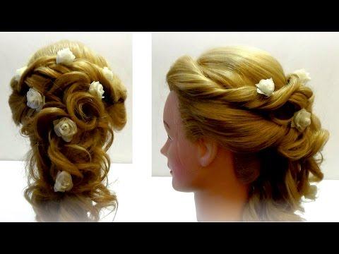 Прическа свадебная. Свадебная прическа с цветами. Wedding hairstyle
